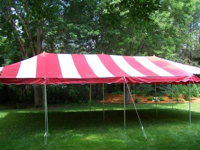Where to find CANOPY 20X40 RED WHITE in Stillwater